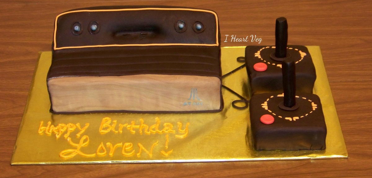 atari game console shaped vegan cake