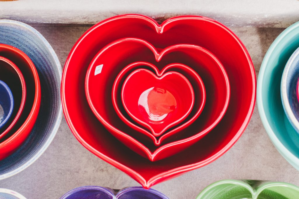 bowls shaped as hearts