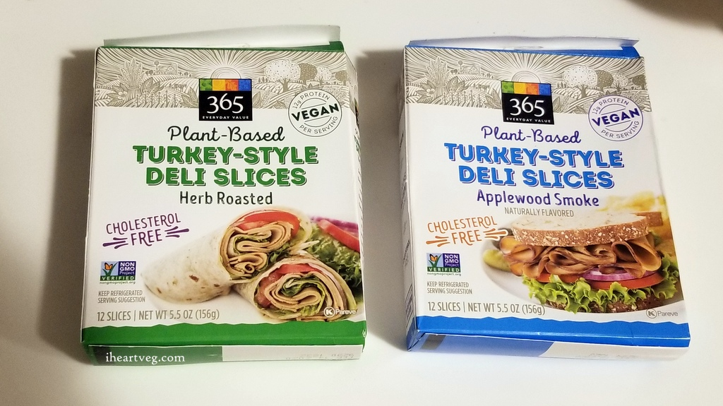 plant-based turkey-style deli slices applewood smoke and herb roasted cholesterol free vegan faux meat