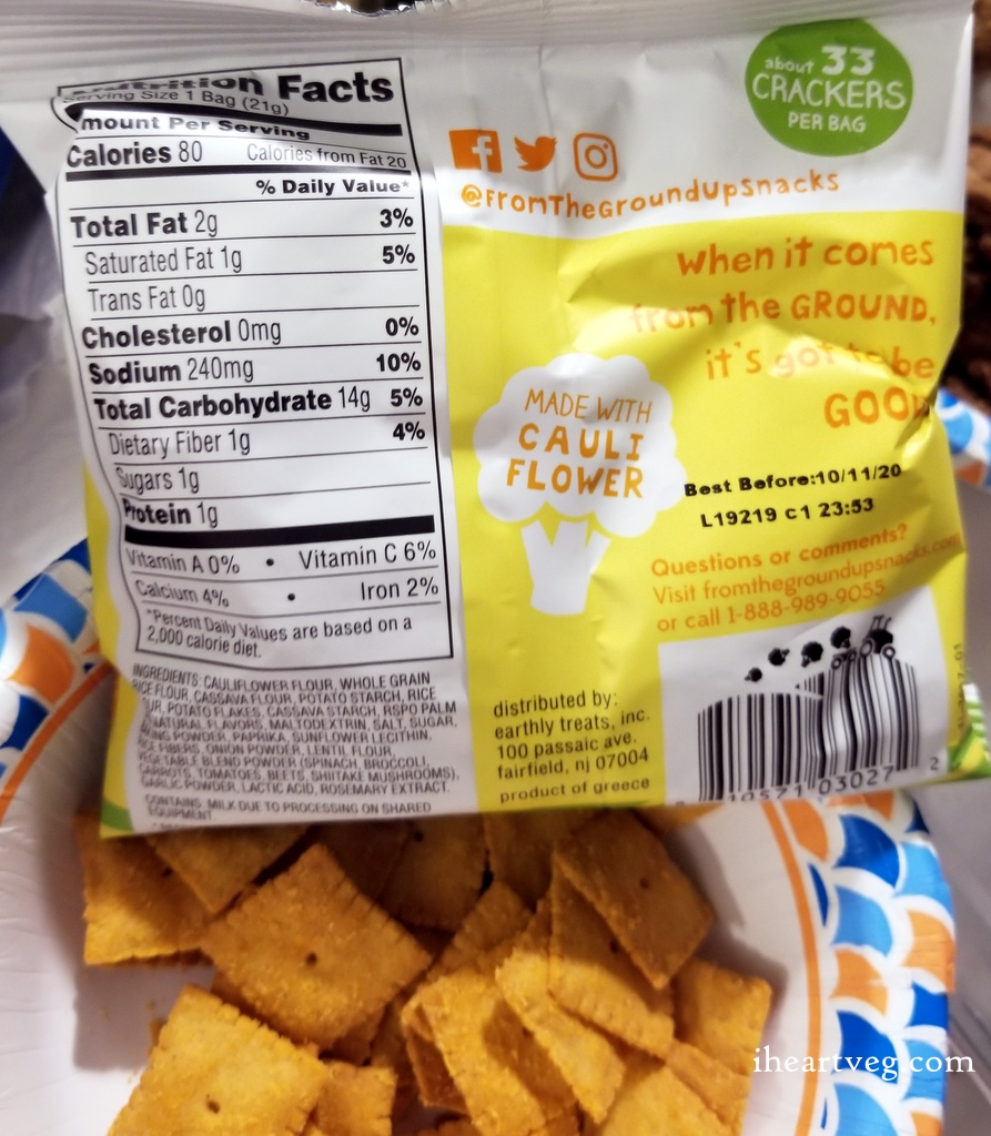 From the Ground Up Cauliflower crackers in cheddar flavor.