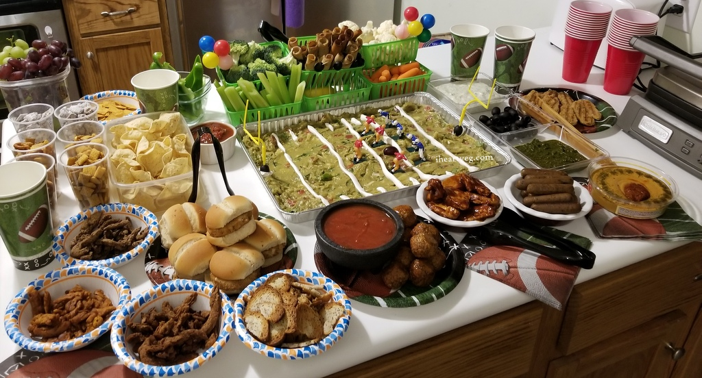 festive display of vegan party food